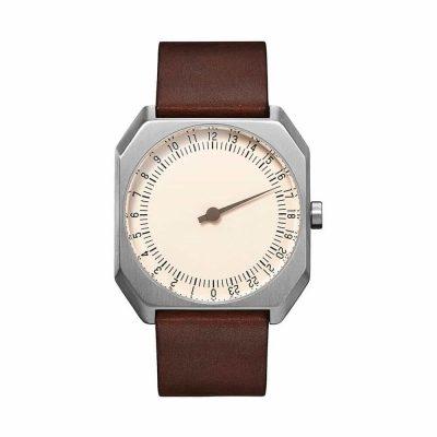 slow Jo 17 - Swiss one-hand watch - Silver, dark brown