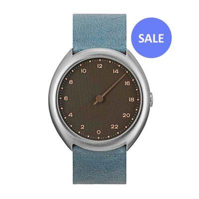 slow O 10 - Swiss single handed watch - silver, light blue - sale