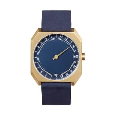 slow Jo 31 - Single Hand watch - Gold octagon case, blue nubuck leather band-1